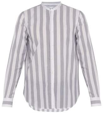 Giorgio Armani Band Collar Striped Cotton Seersucker Shirt - Mens - White Multi