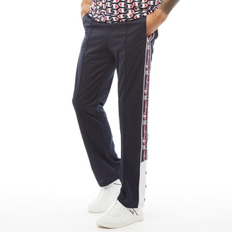Champion Mens Reverse Weave Popper Taped Track Pants Navy