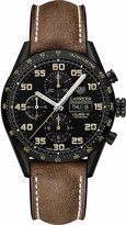 Tag Heuer CV2A84FC6394 Carrera titanium and leather chronograph watch