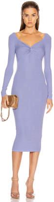 Enza Costa Rib Off Shoulder Twist Midi Dress in Mid Blue | FWRD