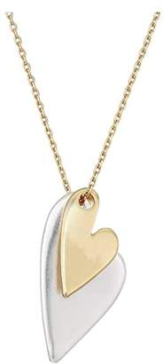 Lucky Brand Heart Charm Necklace (Two-Tone) Necklace