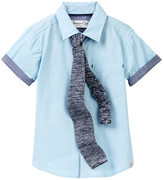 Sovereign Code Short Sleeve Woven Top & Woven Tie 2-Piece Set (Toddler & Little Boys)
