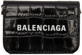 Balenciaga Black Croc Mini Cash Wallet Bag