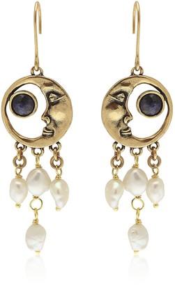 Alcozer & J Golden Brass Moon Earrings
