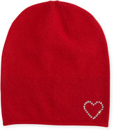 Portolano Wool-Blend Crystal Heart Slouchy Hat, Poppy Red