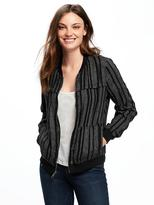 Old Navy Striped Linen-Blend Bomber Jacket for Women