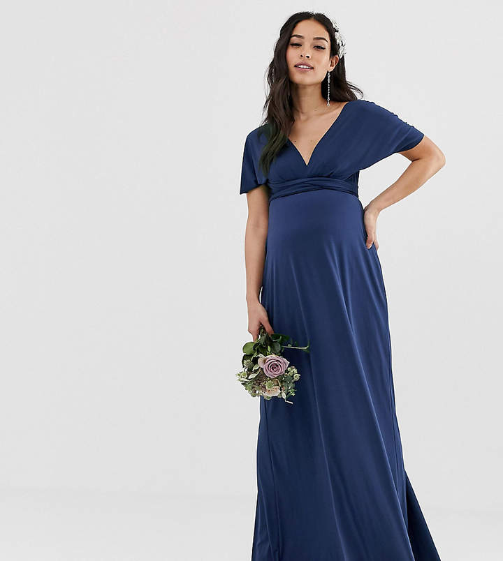 TFNC Maternity Maternity bridesmaid exclusive multiway maxi dress in navy