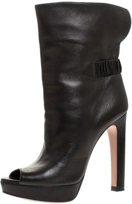Prada Black Leather Peep Toe Platform Ankle Boots Size 37.5