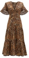 Johanna Ortiz Leopard-print Cotton-blend Midi Dress - Womens - Leopard