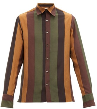 73 London - Striped Silk-voile Shirt - Mens - Brown Multi