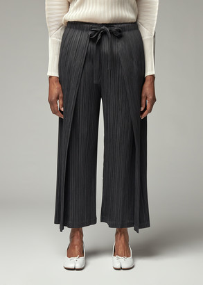 Pleats Please Issey Miyake Women's Tie Front Thicker Bottom Pants in Black Size 3