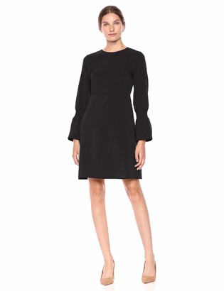 Lark & Ro Stretch Twill Gathered Sleeve Dress Black 6