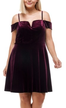 City Studios Trendy Plus Size Off-The-Shoulder Velvet Dress