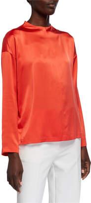 Eileen Fisher Silk Charmeuse Long-Sleeve Box Top