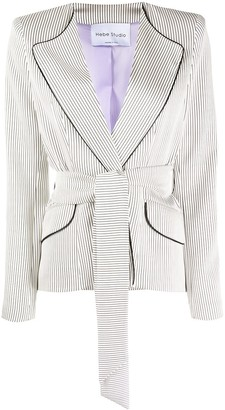 Hebe Studio Pinstripe Belted Blazer