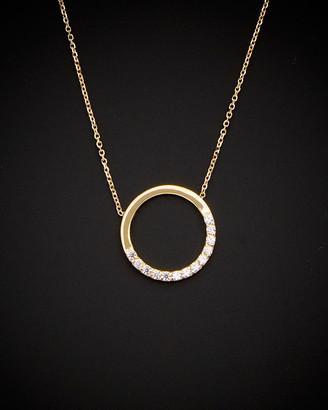 Italian Gold 14K Cz Open Circle Necklace