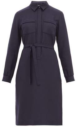 A.P.C. Angele Wool Shirtdress - Womens - Navy