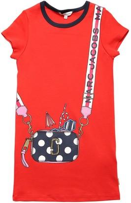 Little Marc Jacobs Logo Print Cotton Interlock Dress