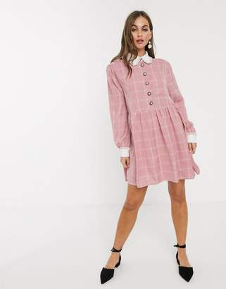 Sister Jane mini smock dress with ornate buttons in light grid check-Pink
