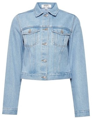 Dorothy Perkins Womens Light Blue Organic Bleach Crop Denim Jacket