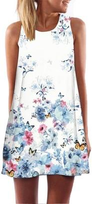 Kanpola 2018 Vest Beach Dresses Vintage Boho Womens Summer Sleeveless Printed Short Mini Dress