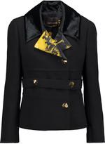 Roberto Cavalli Printed satin and velvet-trimmed wool-crepe jacket