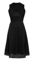 Carven Black Cotton Blend Dress with Criss Cross Neck