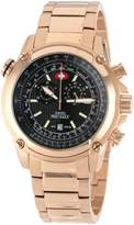 Rosegold Swiss Precimax Men's SP13079 Squadron Pro Black Dial with Rose- Stainless-Steel Band Watch
