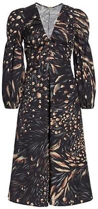 Cult Gaia Chiara Bell-Sleeve Brushstroke Midi Dress