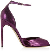 Brian Atwood Oriana metallic watersnake sandals