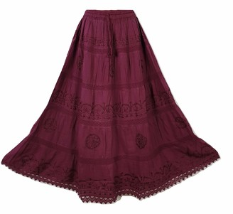 Doorwaytofashion Plus Size Cotton and Lace Lined Summer Skirt Embroidered UK One Size 16 18 20 22 24 (Burgundy)
