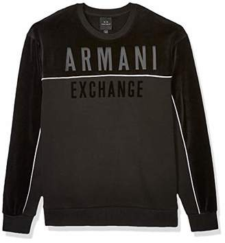 Armani Exchange A|X Men's Crew Neck Pullover with Thin White Stripe and Chest Logo