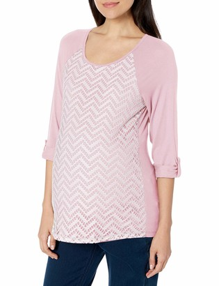 Three Seasons Maternity Women's Maternity 3/4 Sleeve Lace Front Top
