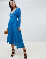 Asos Design DESIGN wrap maxi dress with long sleeve in jacquard