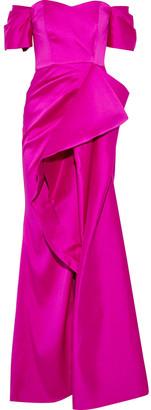 Badgley Mischka Strapless Draped Duchesse-satin Gown