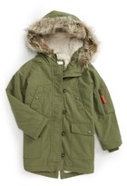 Toddler Girl's Mini Boden Parka With Faux Fur Trim