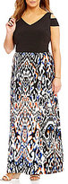 London Times Plus Cold-Shoulder Printed Maxi Dress