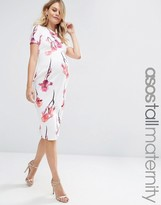 Asos TALL Scuba Pencil Dress In Red Floral