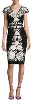 Catherine Deane Floral-Embroidered Jersey Sheath Dress, Black