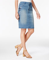 Style&Co. Style & Co Floral-Embroidered Denim Skirt, Only at Macy's