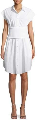 Alexander Wang Washed Cotton Poplin Shirtdress with Rib Combo