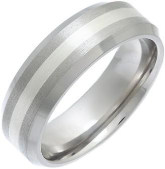 Theia Titanium and Silver Inlay Flat Court Matt 7mm Ring - Size X