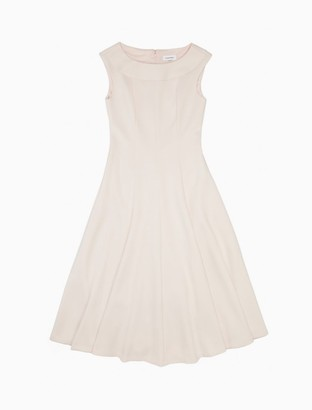 Calvin Klein Solid Boat Neck Sleeveless Fit + Flare Dress