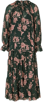 Free People Feeling Groovy Floral-print Chiffon Midi Dress