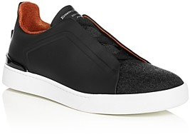 Ermenegildo Zegna Men's Triple Stitch Leather Slip-On Sneakers