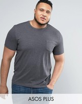Asos PLUS T-Shirt With Crew Neck And Pocket In Charcoal Marl