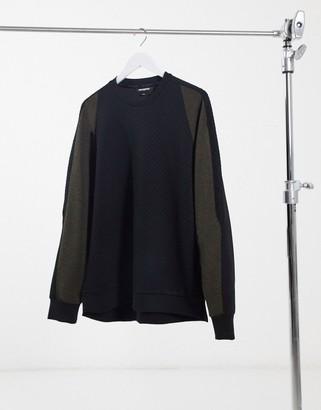 Karl Lagerfeld Paris textured neoprene knit sweater with contrast raglan sleeves