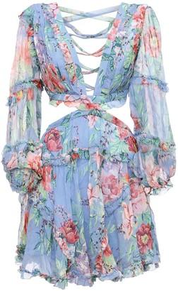 Zimmermann Bellitude Floral Silk Chiffon Mini Dress