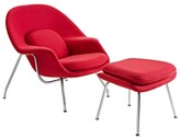 The Well Appointed House Modern Red Lounge Chair & Ottoman Set With Stainless Steel Legs