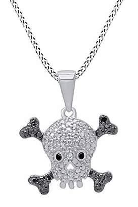 "Black Diamond 14k Gold Over Sterling Silver Black & Diamond Skull With Crossbones Pendant Necklace For Women 18"" Chain (1/10 Cttw"